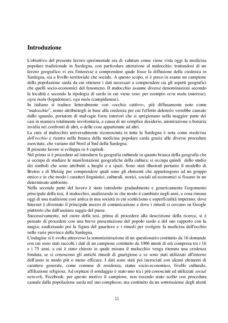 Estratto dalla tesi: Il malocchio: analisi geografica della cura del malocchio in Sardegna