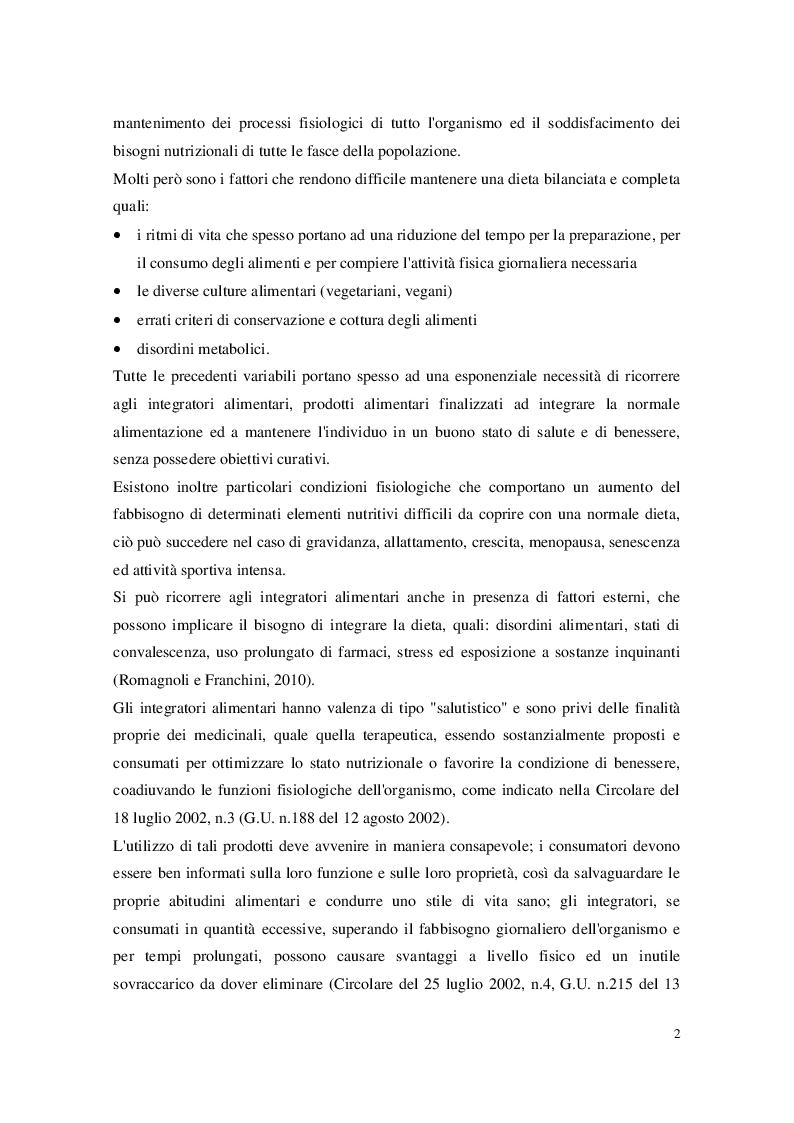 Anteprima della tesi: Gli integratori alimentari: legislazione e classificazione, Pagina 3