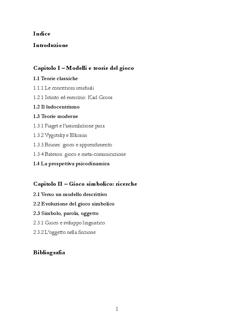 Indice della tesi: Uno studio sul gioco ed i suoi aspetti simbolici, Pagina 1