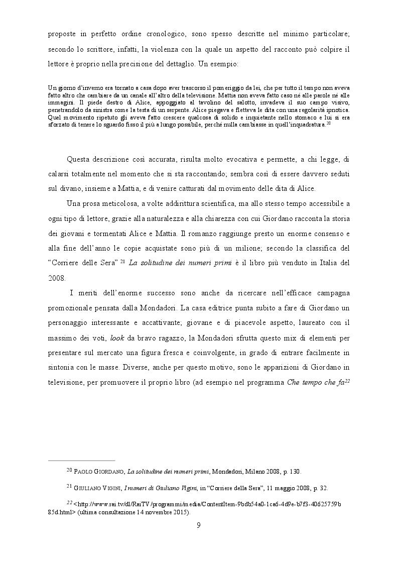 Estratto dalla tesi: Tra editoria e cinema il caso La solitudine dei numeri primi