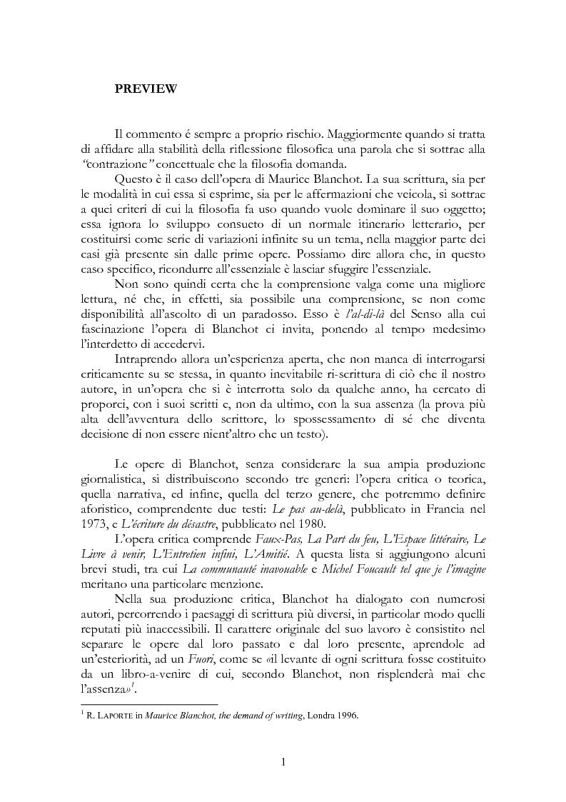 Anteprima della tesi: La legge, la letteratura e la morte. Una lettura di Maurice Blanchot, Pagina 1