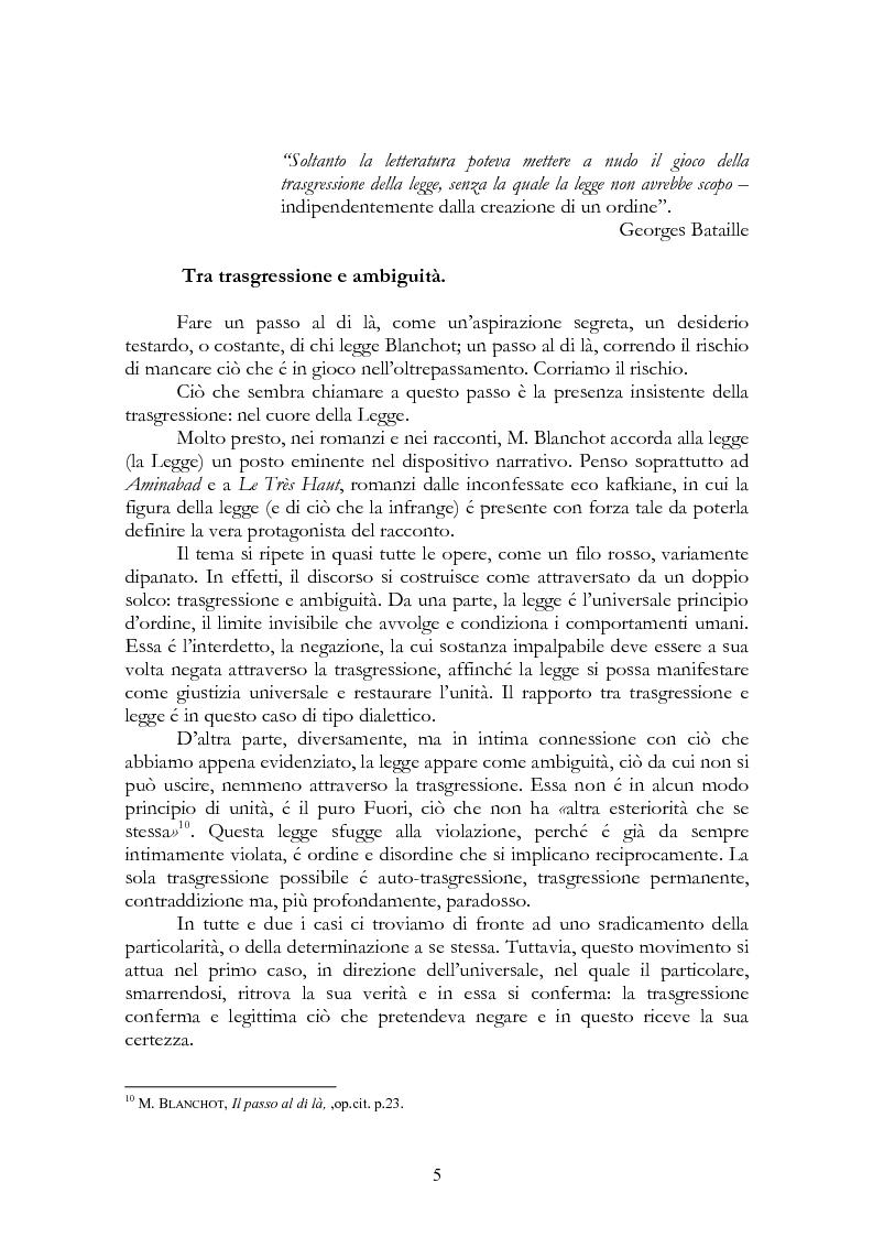 Anteprima della tesi: La legge, la letteratura e la morte. Una lettura di Maurice Blanchot, Pagina 5
