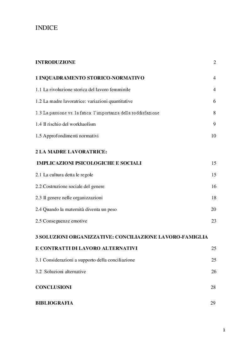 Indice della tesi: La maternità nelle organizzazioni. Un approfondimento psicosociale e normativo, Pagina 1