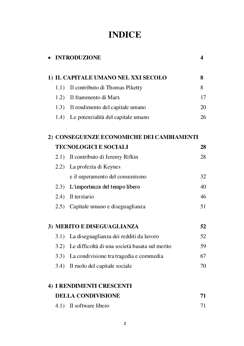 Indice della tesi: Capitale e lavoro nel XXI secolo: tra bisogni relativi e produzione condivisa, Pagina 1