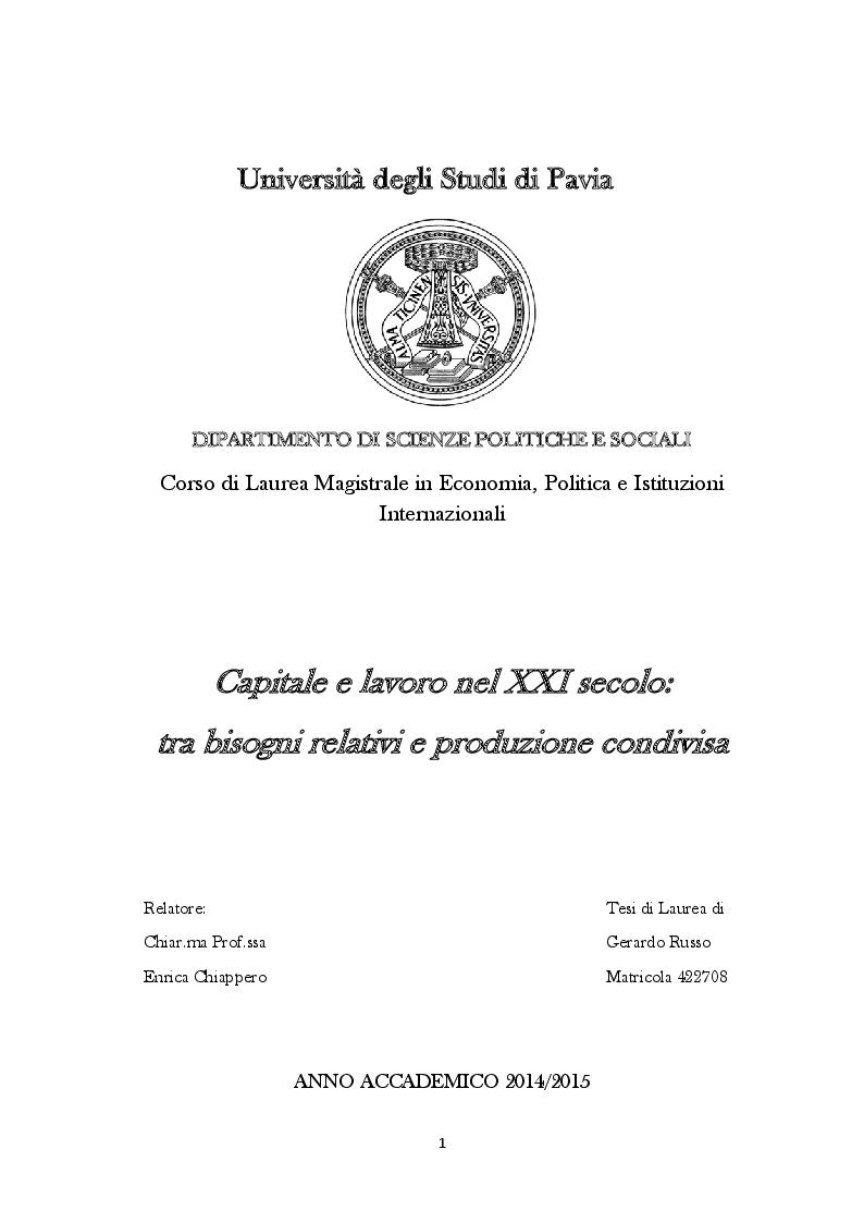 Anteprima della tesi: Capitale e lavoro nel XXI secolo: tra bisogni relativi e produzione condivisa, Pagina 1