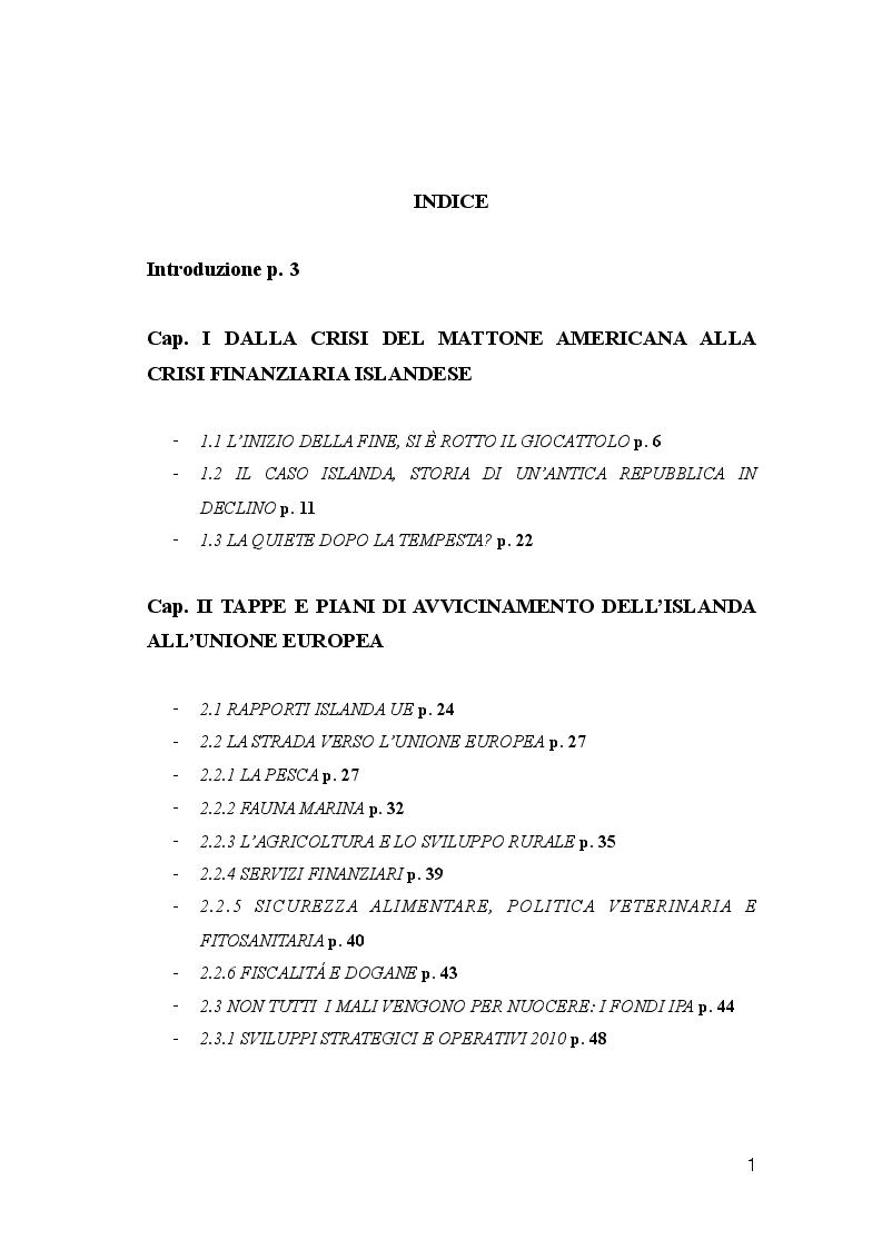 Indice della tesi: Dalla crisi all'adesione: il percorso dell'Islanda verso l'UE, Pagina 1