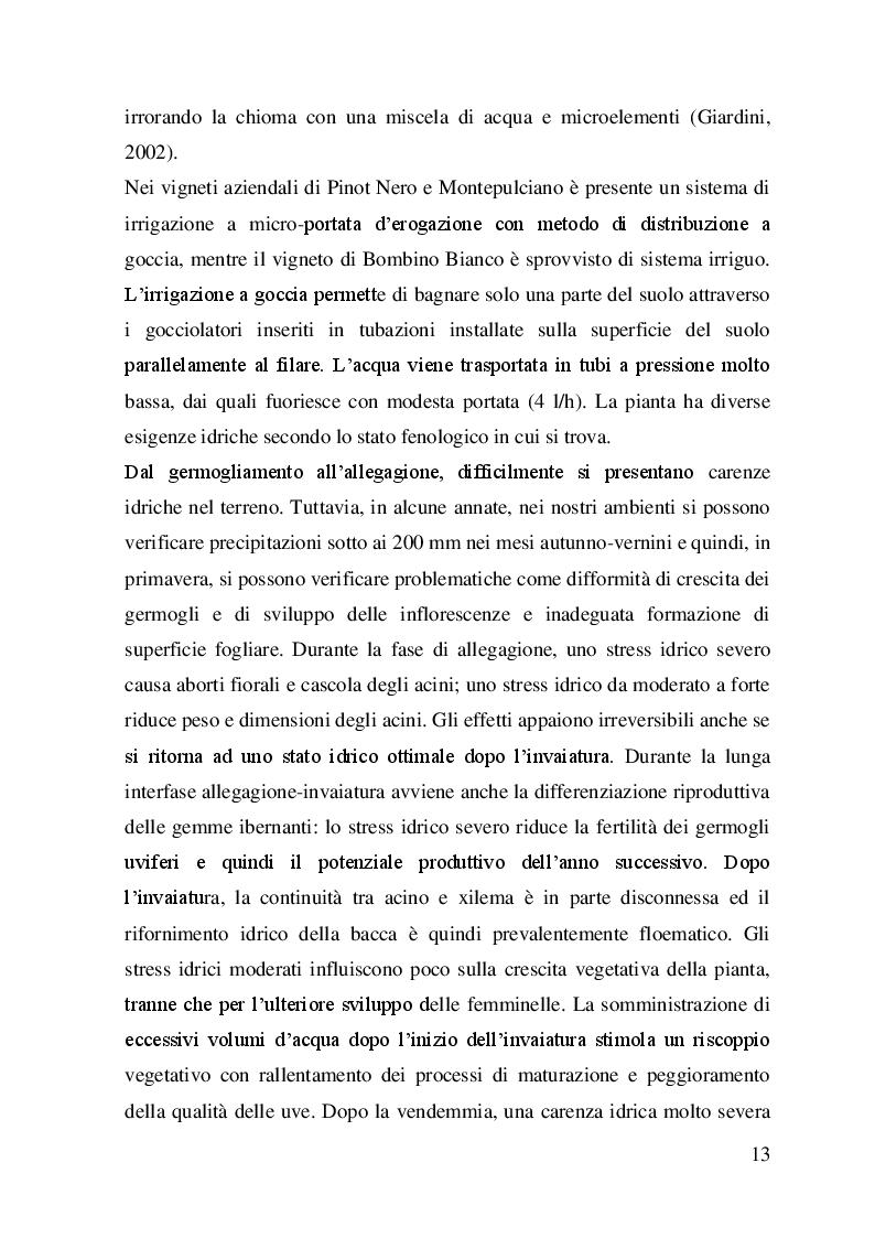 Estratto dalla tesi: Scelte viticole e applicazioni di tecniche colturali per la produzione d'uve ad uso spumantistico in Capitanata