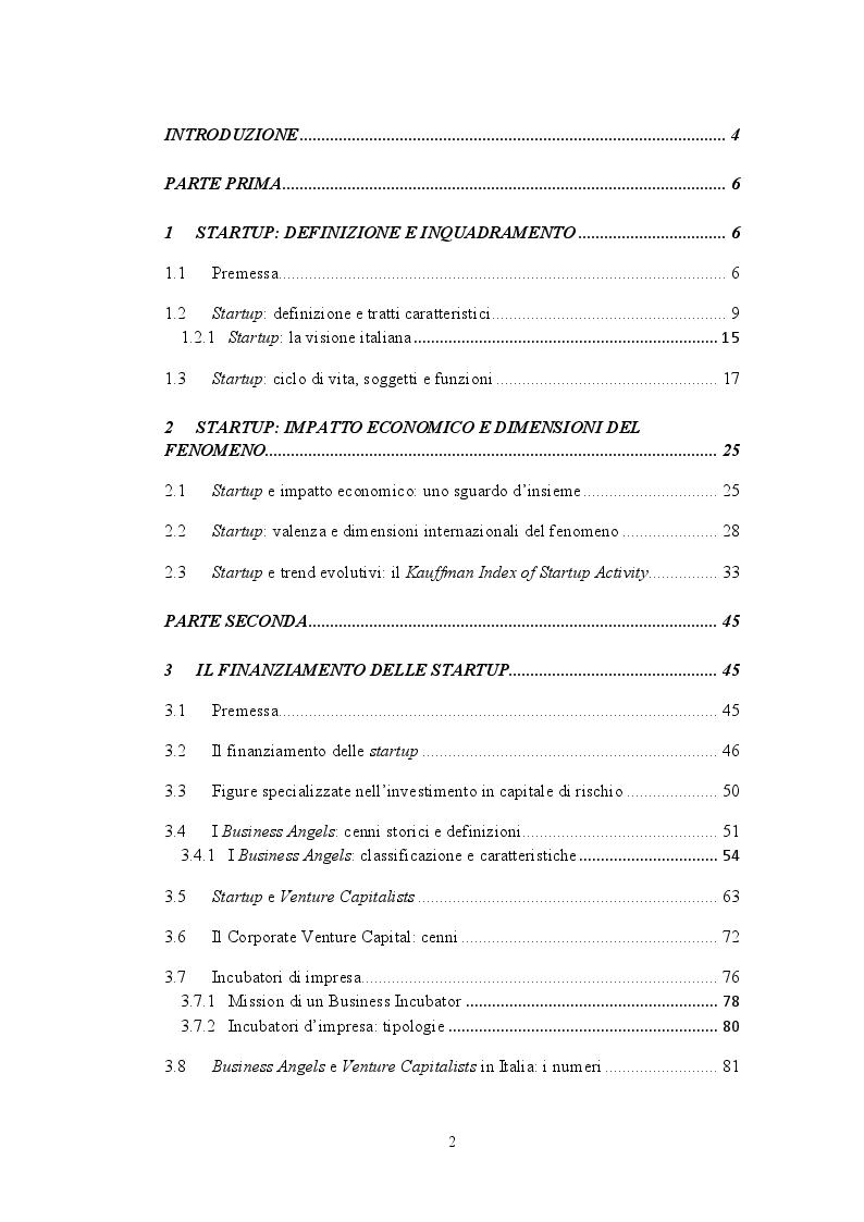 Indice della tesi: Modelli di startup financing nel panorama italiano: il caso LVenture Group S.p.A., Pagina 1