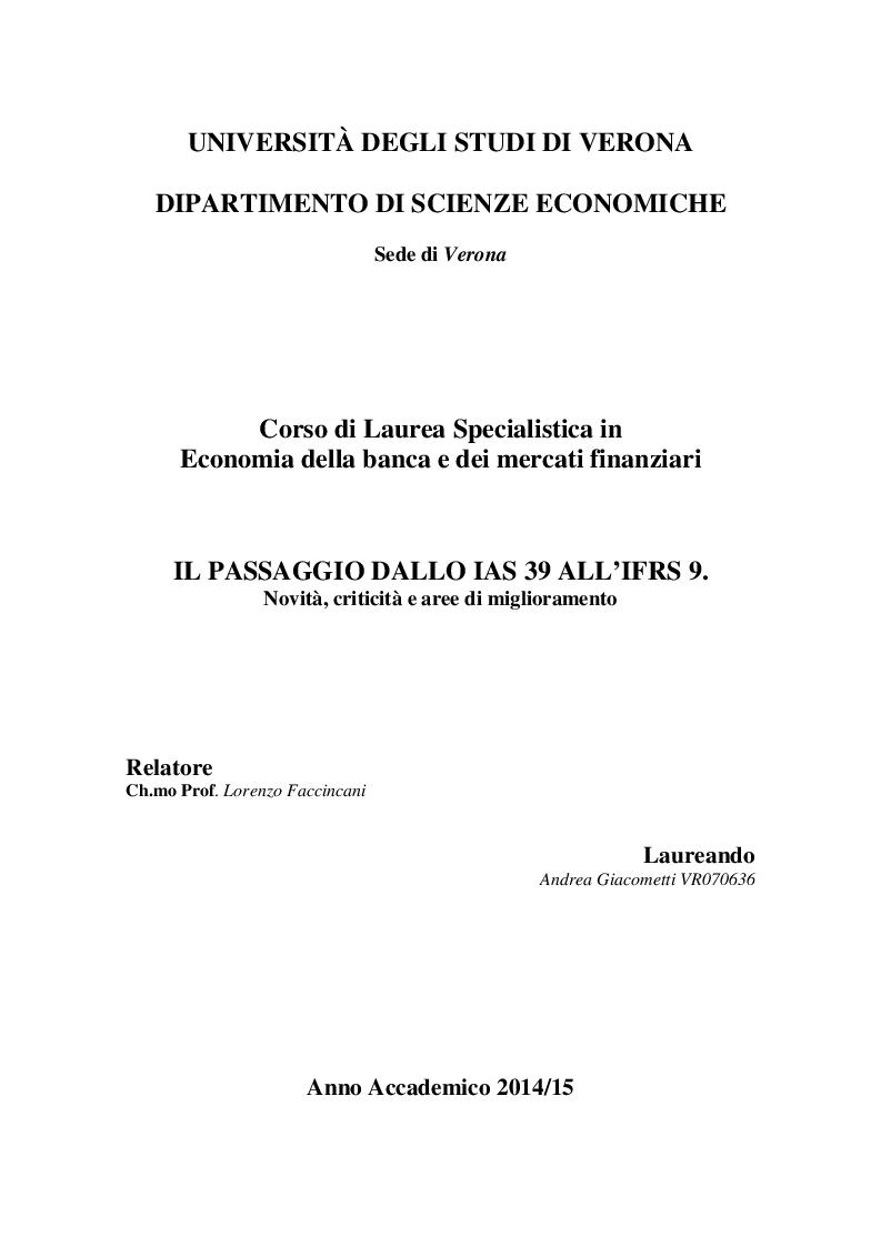 Anteprima della tesi: Il passaggio dallo IAS 39 all'IFRS 9. Novità, criticità e aree di miglioramento, Pagina 1