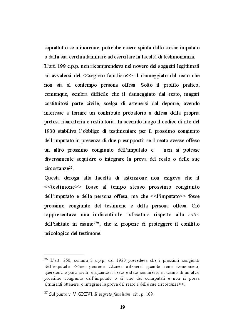 Estratto dalla tesi: La testimonianza del prossimo congiunto dell'imputato