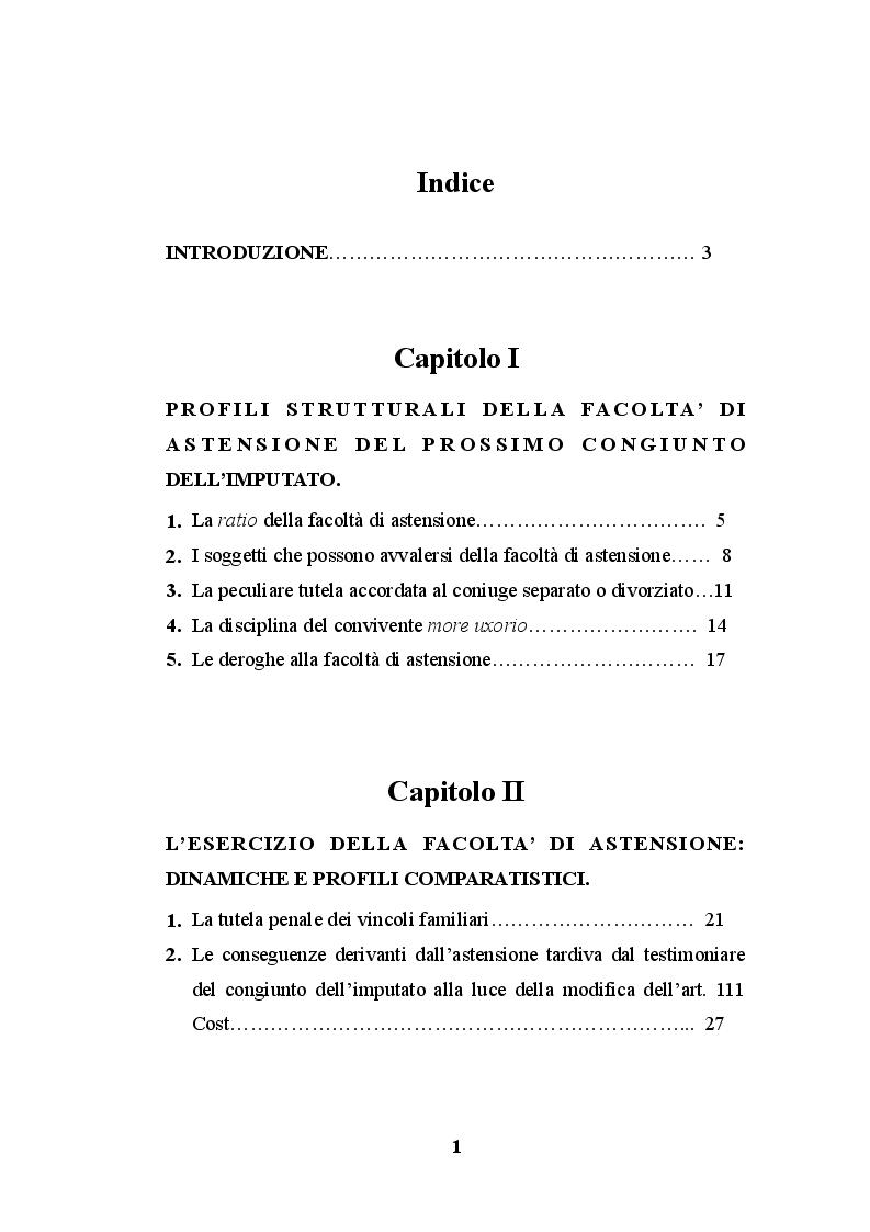 Indice della tesi: La testimonianza del prossimo congiunto dell'imputato, Pagina 1