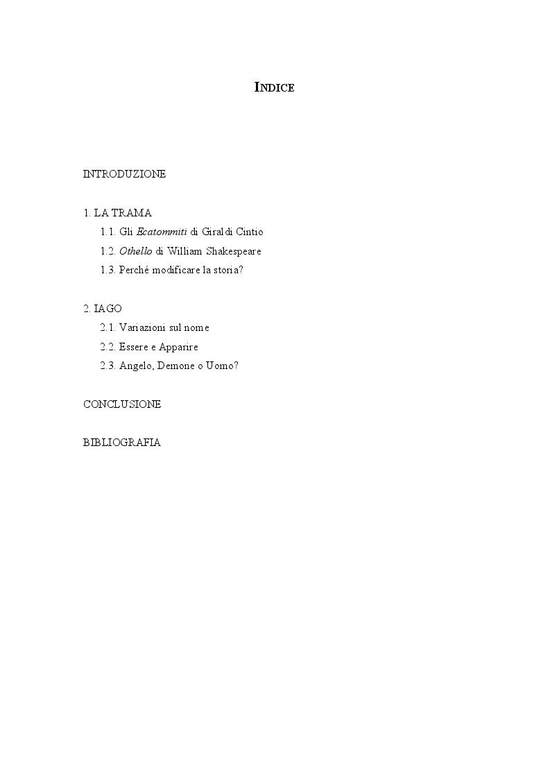 Indice della tesi: Iago da Giraldi a Shakespeare, Pagina 1
