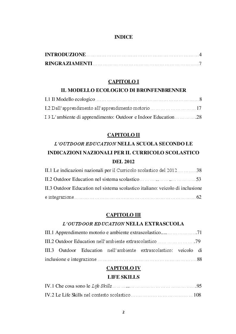 Indice della tesi: Outdoor Education nella scuola e nell'extrascuola, Pagina 1