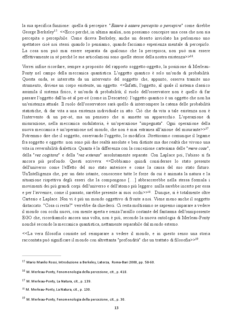 Estratto dalla tesi: Assonanze fra la filosofia di Merleau-Ponty e la fisica del XX° secolo