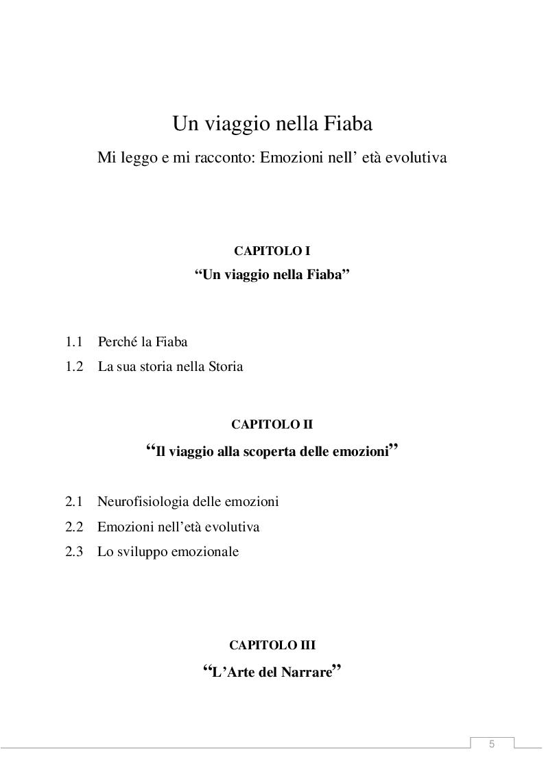 Indice della tesi: Un Viaggio nella Fiaba. Mi leggo e mi racconto: emozioni nell'età evolutiva, Pagina 1