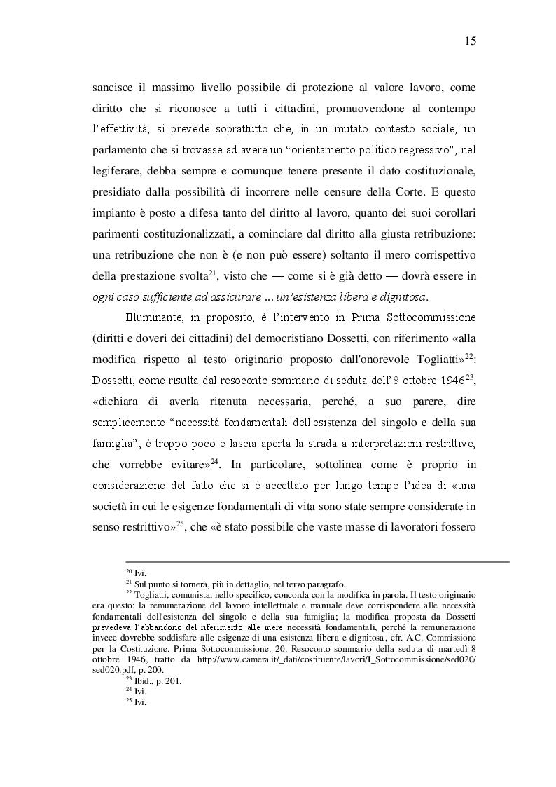 Estratto dalla tesi: Retribuzione proporzionata e sufficiente e ''nuovi lavori''