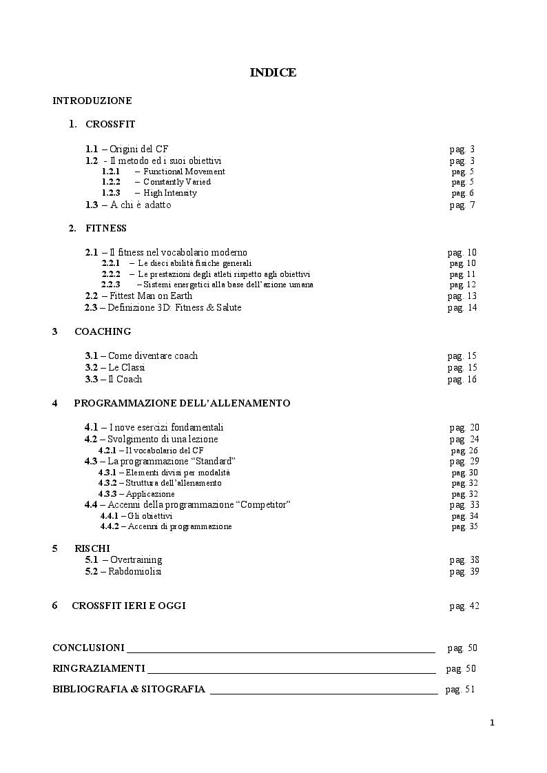 Indice della tesi: Crossfit: lo Sport del Fitness - Oltre i Tradizionali Metodi, Pagina 1