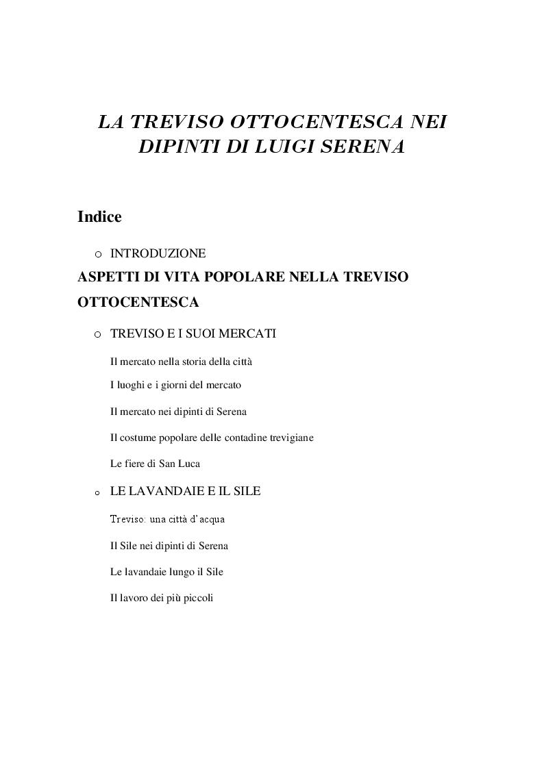 Indice della tesi: La Treviso Ottocentesca nei dipinti di Luigi Serena, Pagina 1
