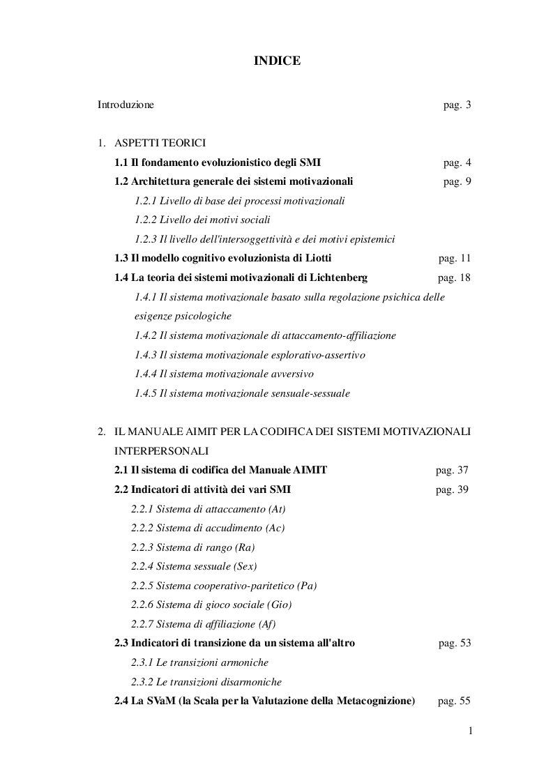 Indice della tesi: I sistemi motivazionali interpersonali nei web forum dedicati alla sessualità: un'analisi secondo il metodo Aimit, Pagina 1