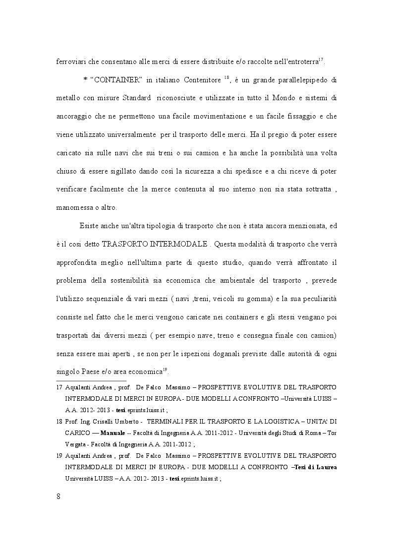 Estratto dalla tesi: Il trasporto merci in Italia - Ruolo e relazioni con il PIL, previsioni e sostenibilità