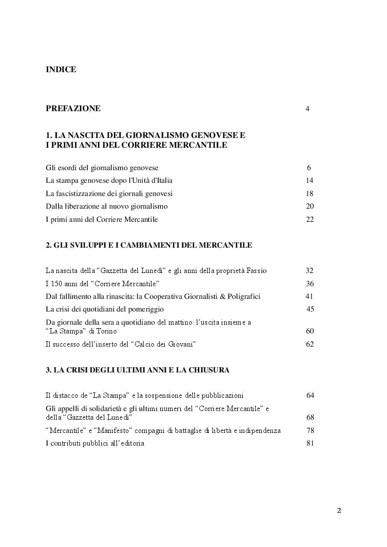 """Indice della tesi: Vita e morte di un giornale: la chiusura del """"Corriere Mercantile"""" dopo 191 anni di cronaca genovese, Pagina 1"""