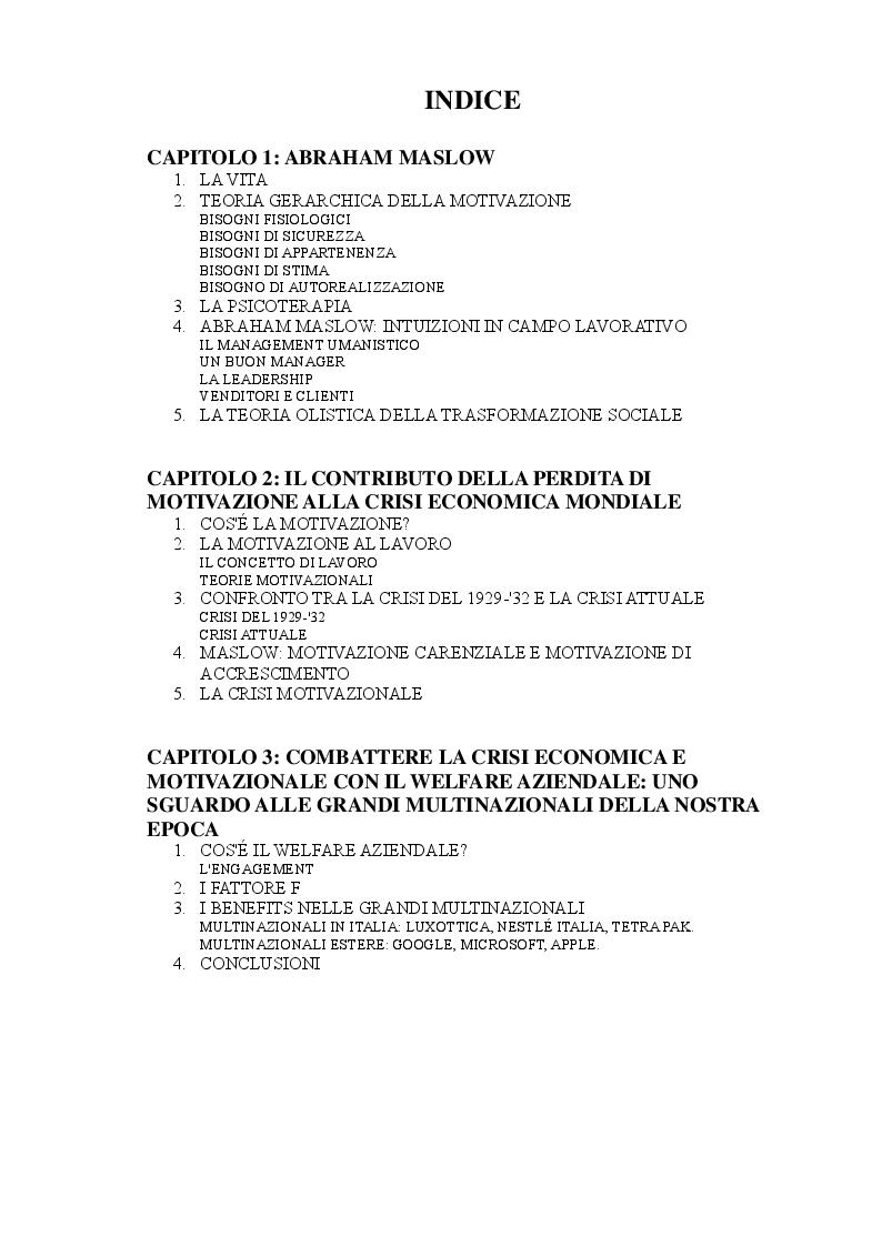 Indice della tesi: Crisi economica e motivazione al lavoro: Un'analisi psicologica, Pagina 1