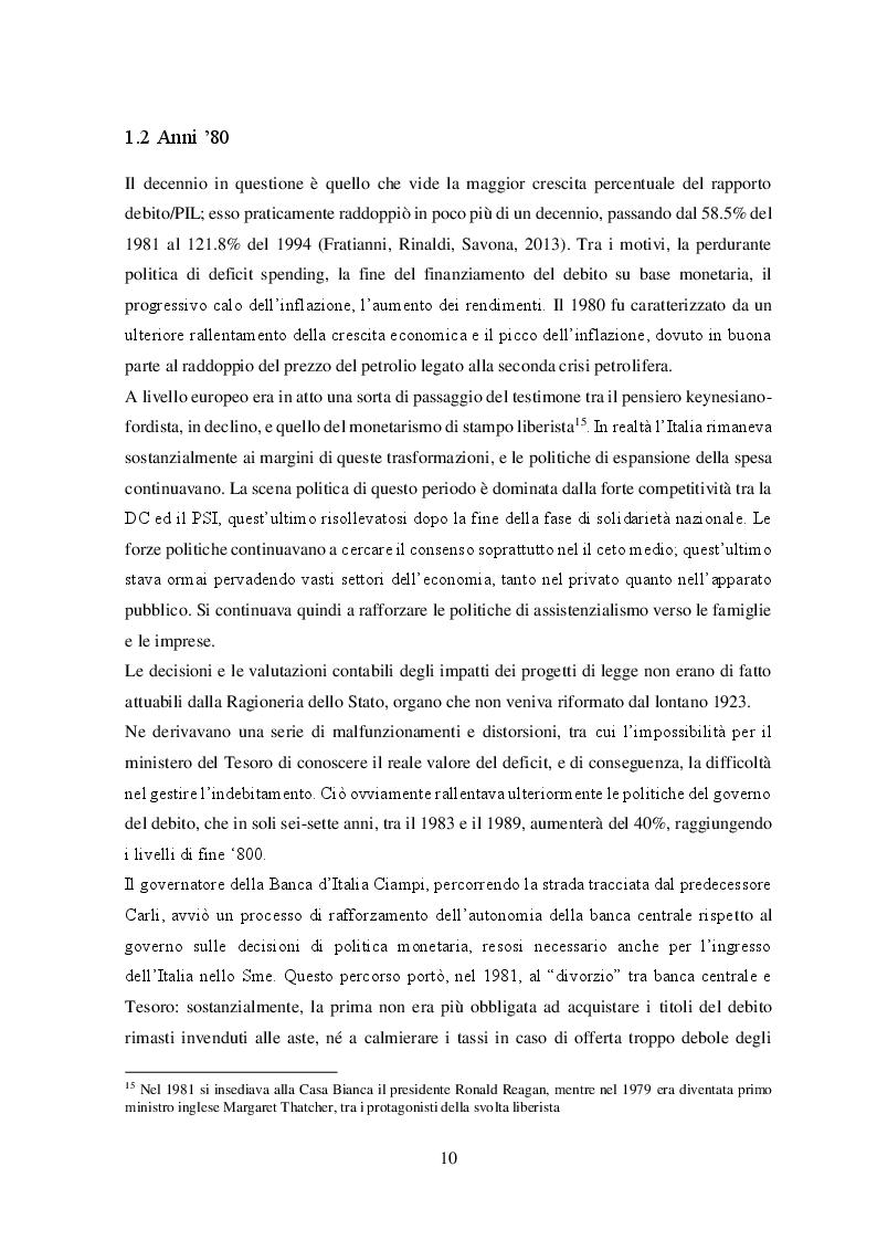 Estratto dalla tesi: Il problema del debito pubblico italiano: genesi storica e analisi di due possibili strategie per affrontarlo
