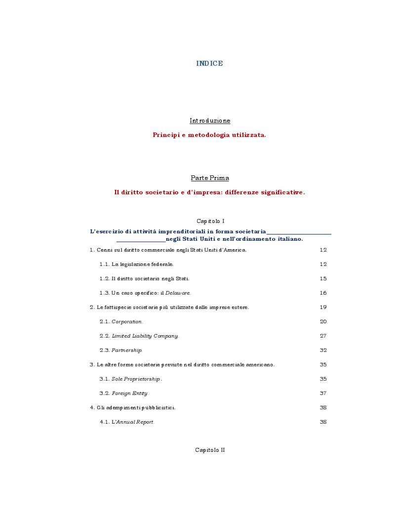 Indice della tesi: Impresa e fiscalità internazionale: Italia - U.S.A. Aspetti di diritto commerciale e interazione tra la normativa fiscale italiana con quella americana., Pagina 1