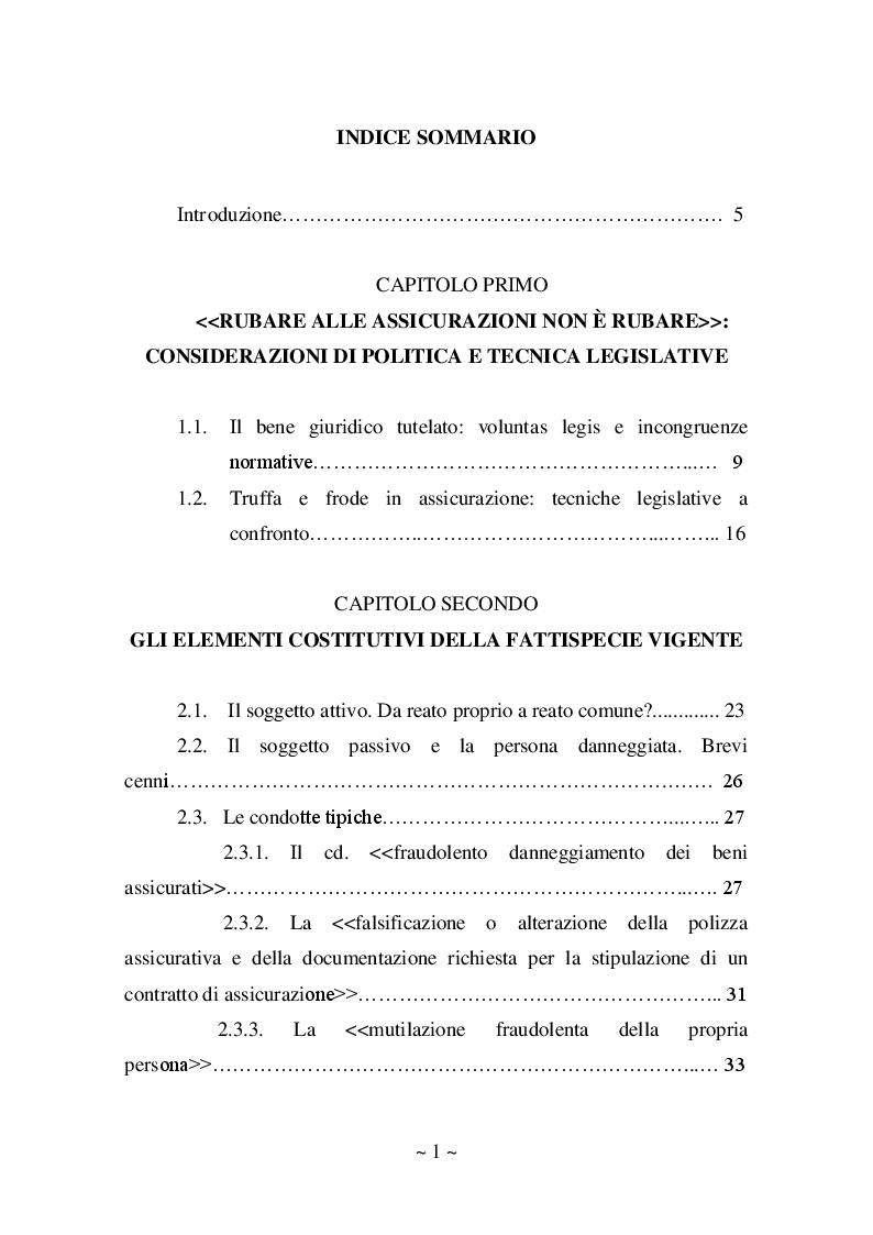 Indice della tesi: Frode in assicurazione: l'articolo 642 del Codice Penale tra dato normativo e prospettive ermeneutiche, Pagina 1