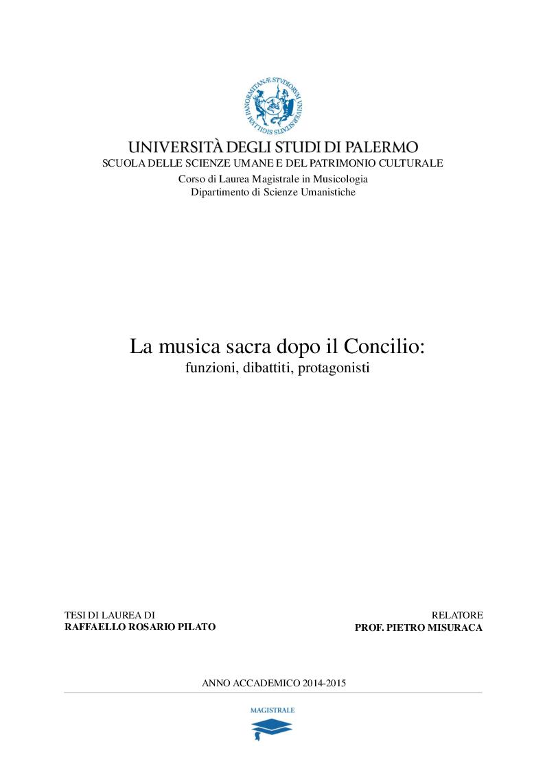 Anteprima della tesi: La musica sacra dopo il Concilio: funzioni, dibattiti, protagonisti., Pagina 1