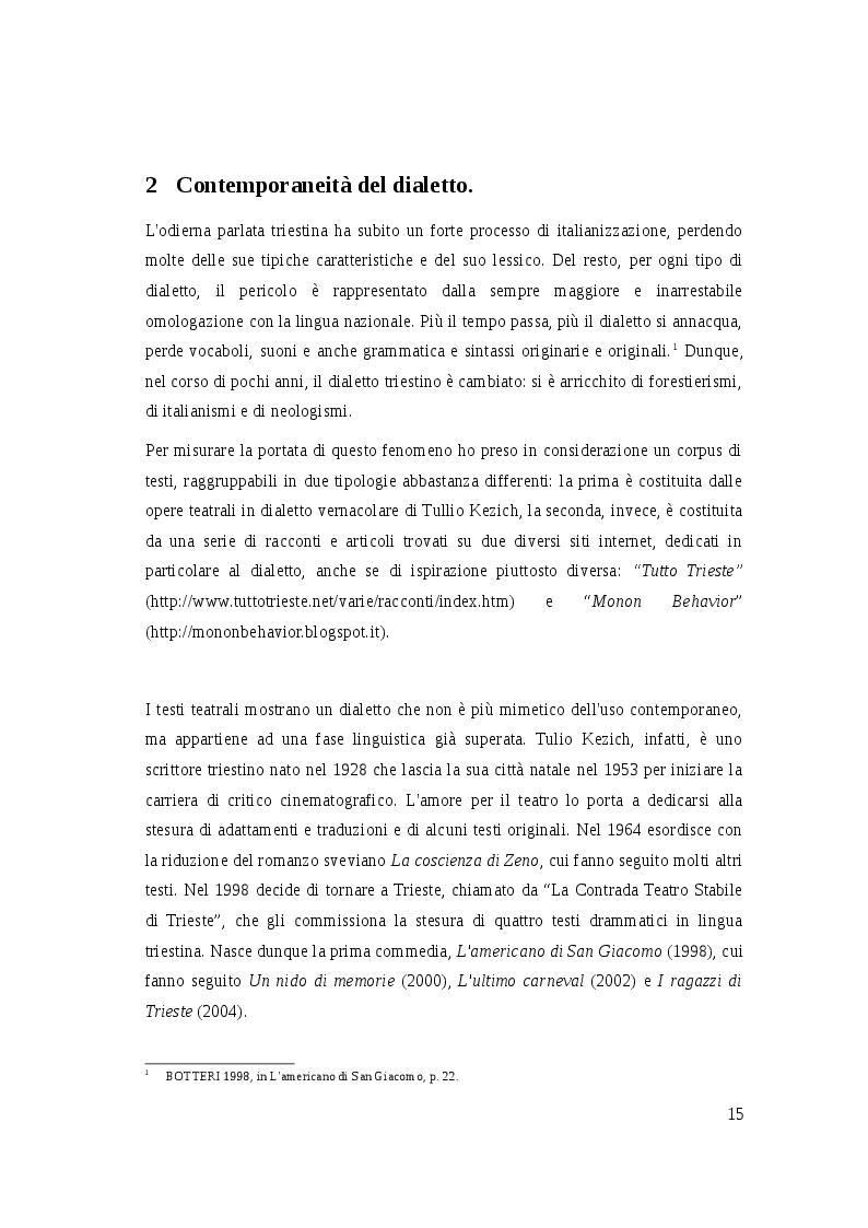 Estratto dalla tesi: Il dialetto triestino a teatro e in letteratura. Spunti letterari per una caratterizzazione linguistica.