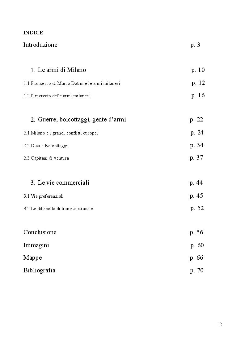 Indice della tesi: ARS ARMORUM MEDIOLANENSIS: le implicazioni politiche del commercio delle armi milanesi dalle lettere di Francesco Datini (1380 - 1407), Pagina 1