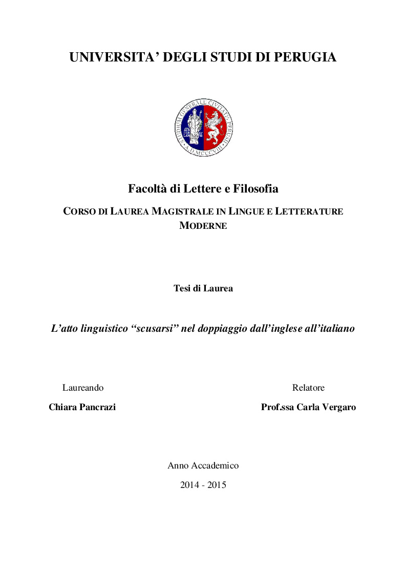 Anteprima della tesi: L'atto linguistico ''scusarsi'' nel doppiaggio dall'inglese all'italiano, Pagina 1