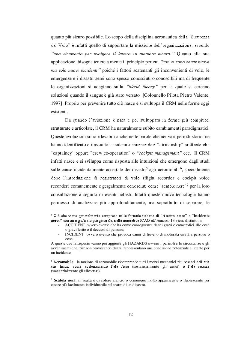 Estratto dalla tesi: Crew  Resource  Management, gestione degli equipaggi di volo nel servizio aereo di polizia