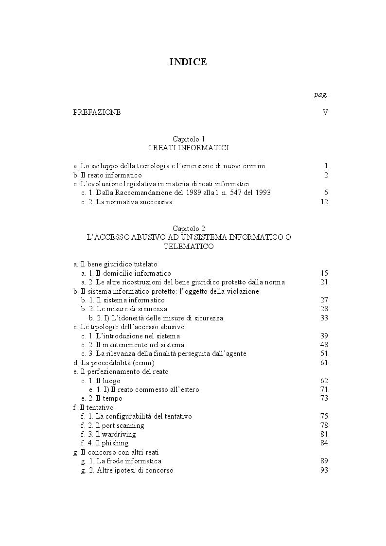 Indice della tesi: L'accesso abusivo ad un sistema informatico o telematico, Pagina 1