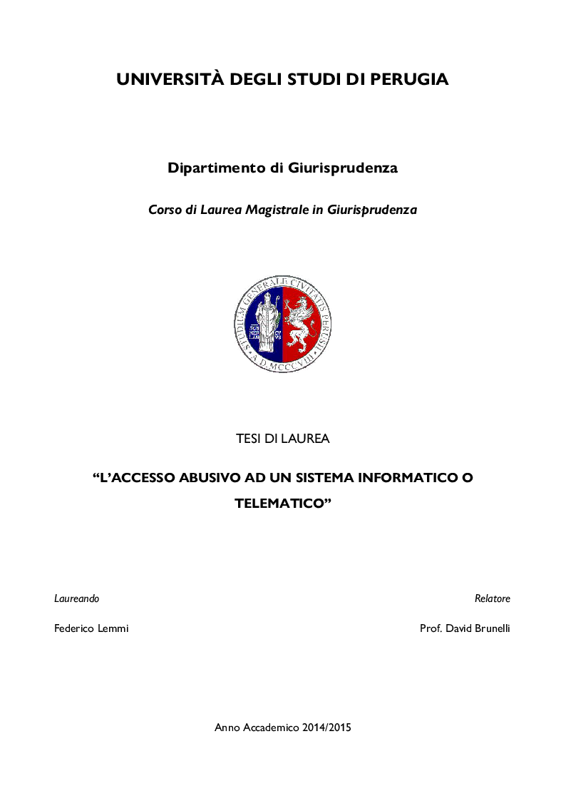 Anteprima della tesi: L'accesso abusivo ad un sistema informatico o telematico, Pagina 1