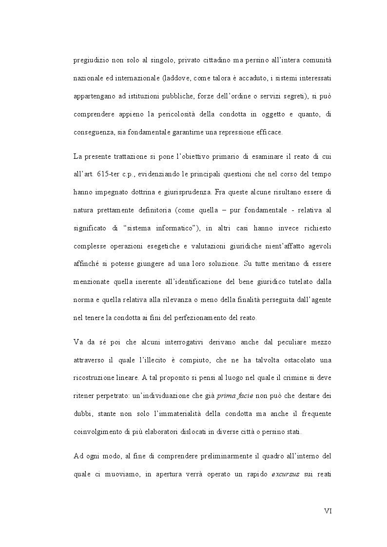 Anteprima della tesi: L'accesso abusivo ad un sistema informatico o telematico, Pagina 3