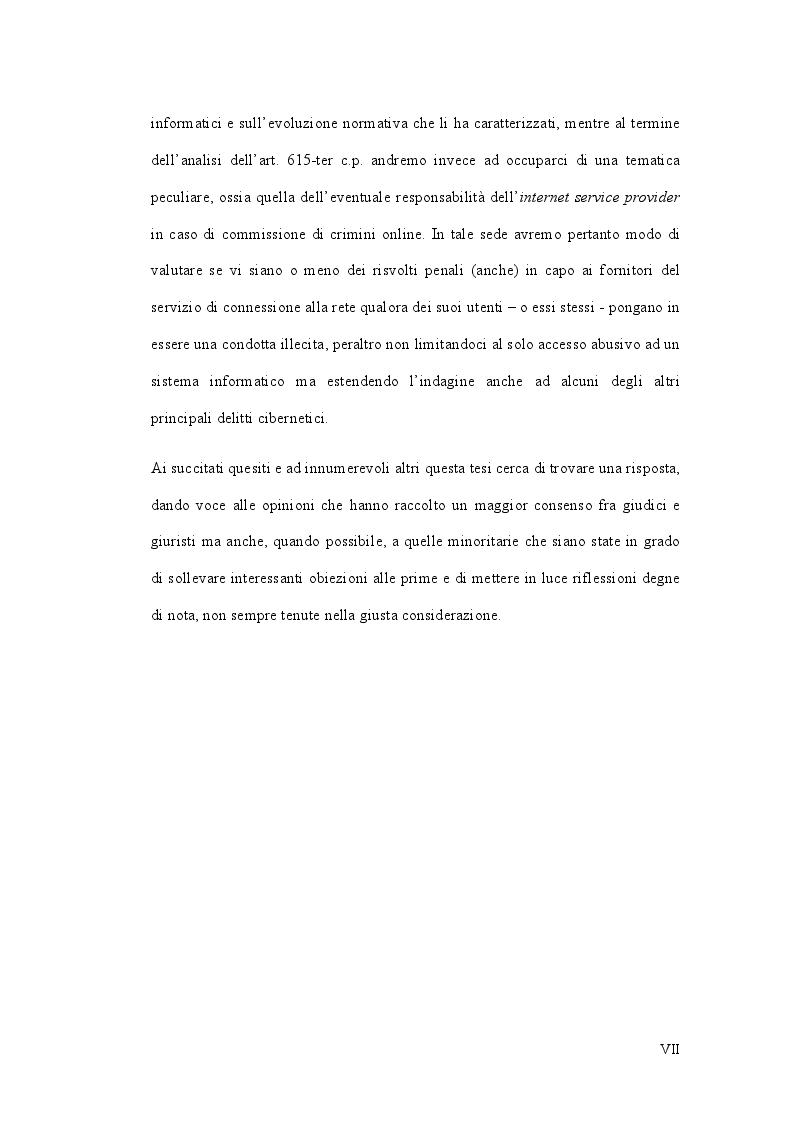 Anteprima della tesi: L'accesso abusivo ad un sistema informatico o telematico, Pagina 4