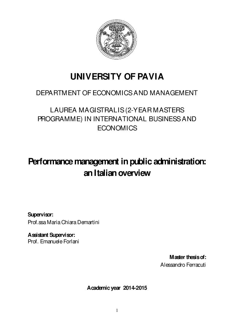 Preview of the thesis: Performance management in public administration: an Italian overview, Page 1