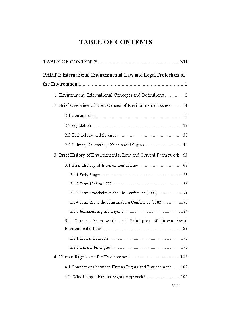 Indice della tesi: Environment in International Criminal Law, Pagina 1