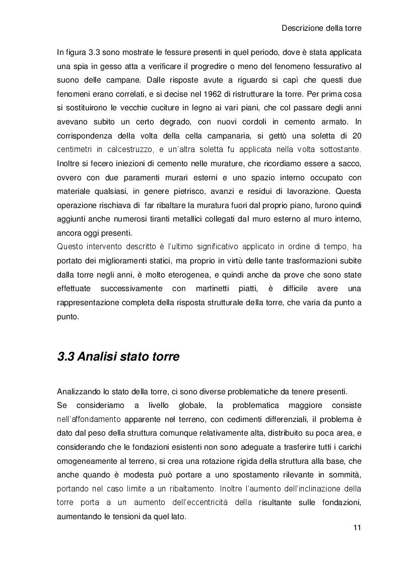 Estratto dalla tesi: Analisi dei dati di monitoraggio e del comportamento strutturale della Torre Civica di Portogruaro