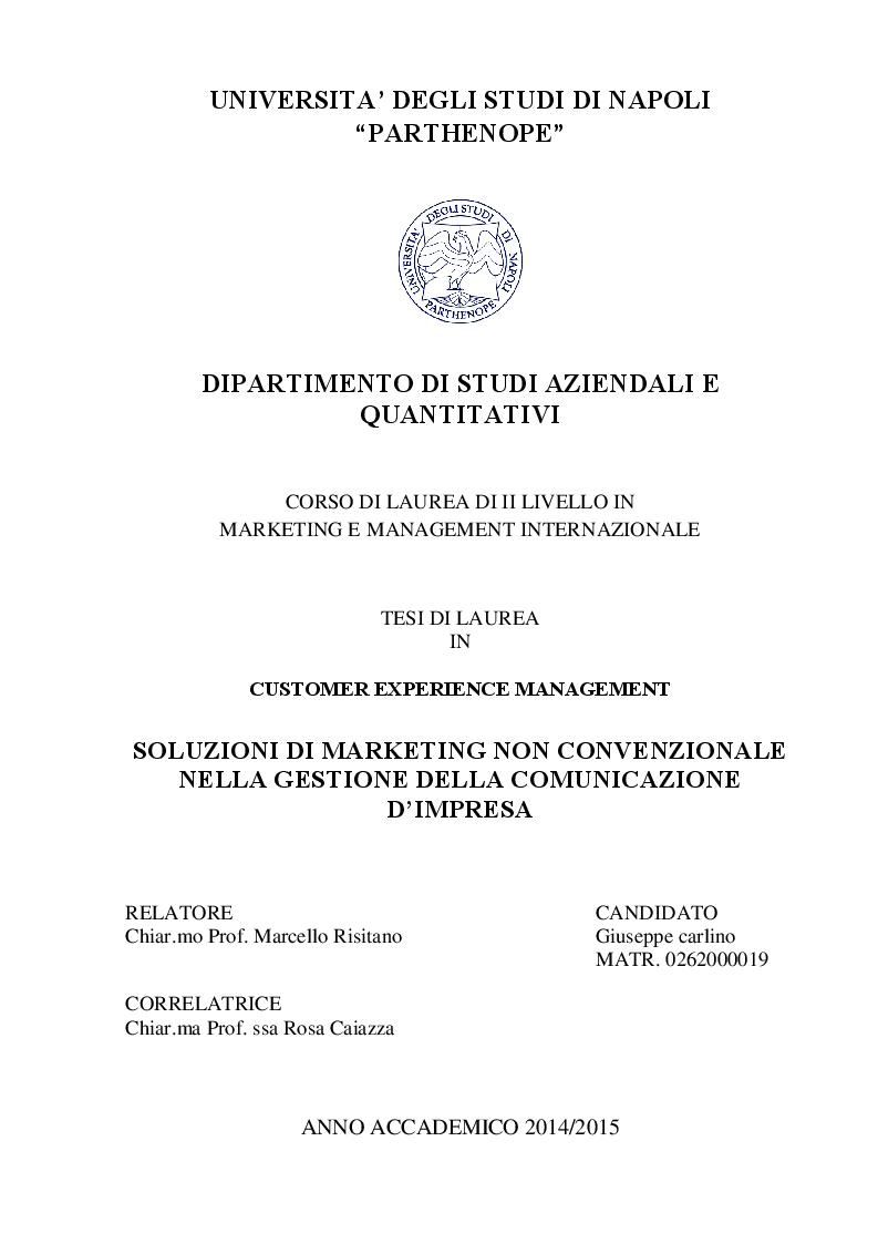 Anteprima della tesi: Soluzioni di Marketing non convenzionale nella gestione della comunicazione d'impresa., Pagina 1