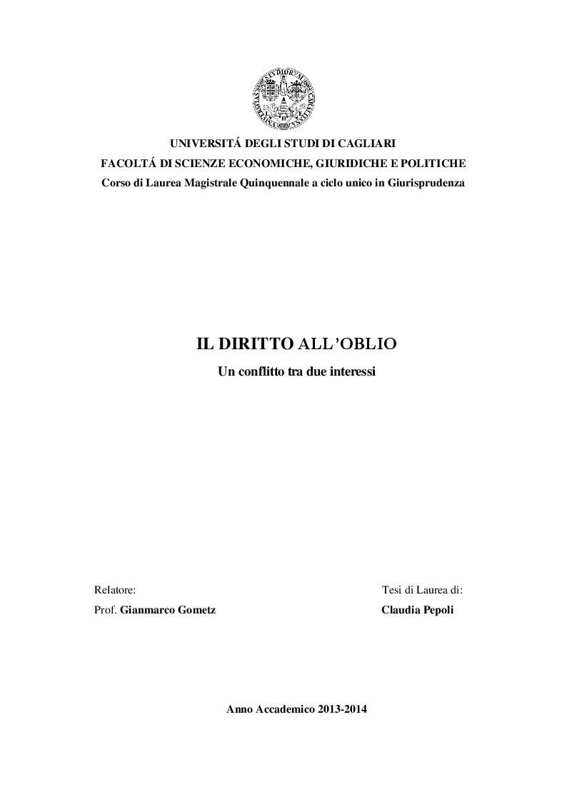 Anteprima della tesi: Il diritto all'oblio: un conflitto tra due interessi, Pagina 1