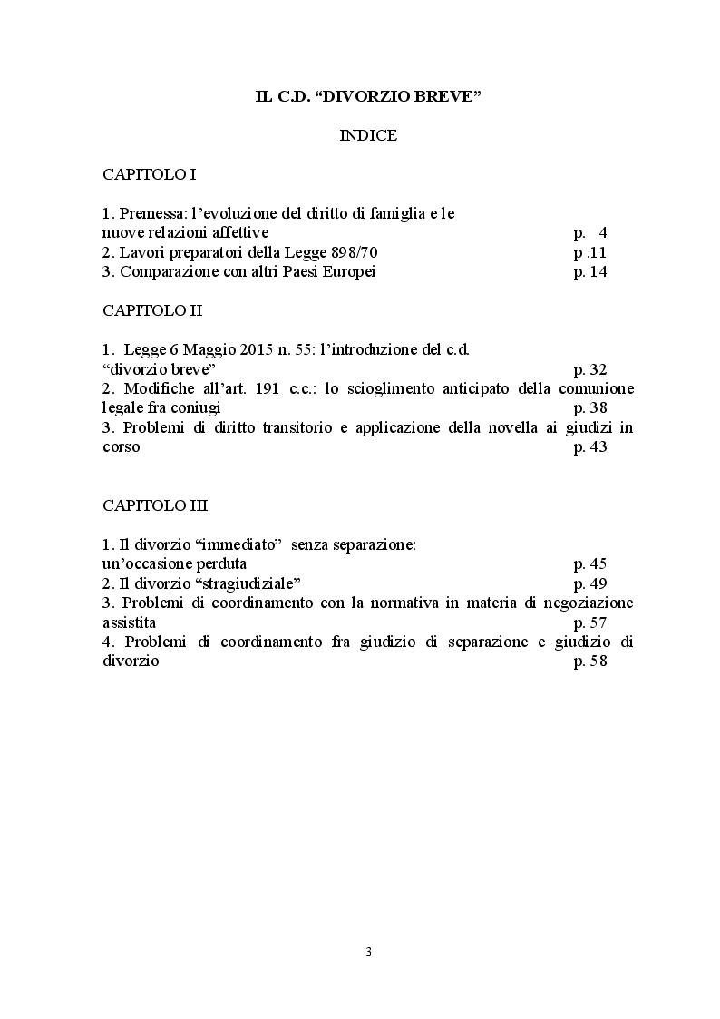 Indice della tesi: Il c.d. divorzio breve, Pagina 1