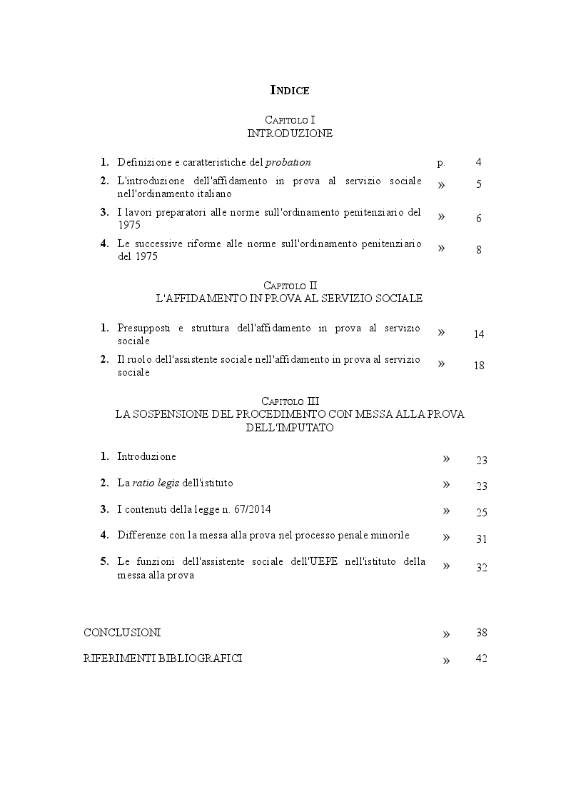 Indice della tesi: Il ruolo dell'assistente sociale nella probation, Pagina 1