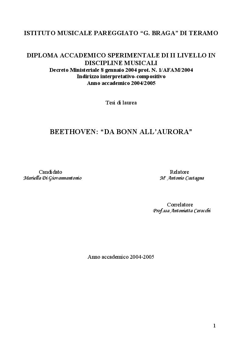 Anteprima della tesi: Beethoven: ''Da Bonn all'Aurora'', Pagina 1