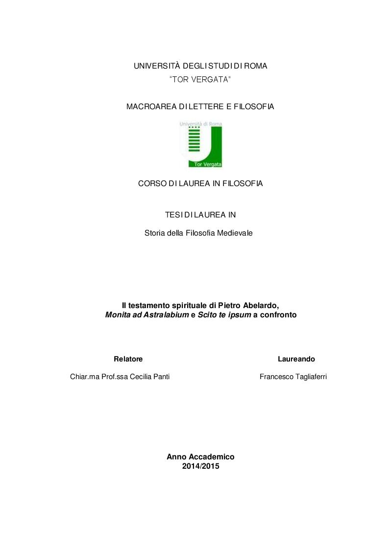 Anteprima della tesi: Il testamento spirituale di Pietro Abelardo, Monita ad Astralabium ed Ethica a confronto, Pagina 1