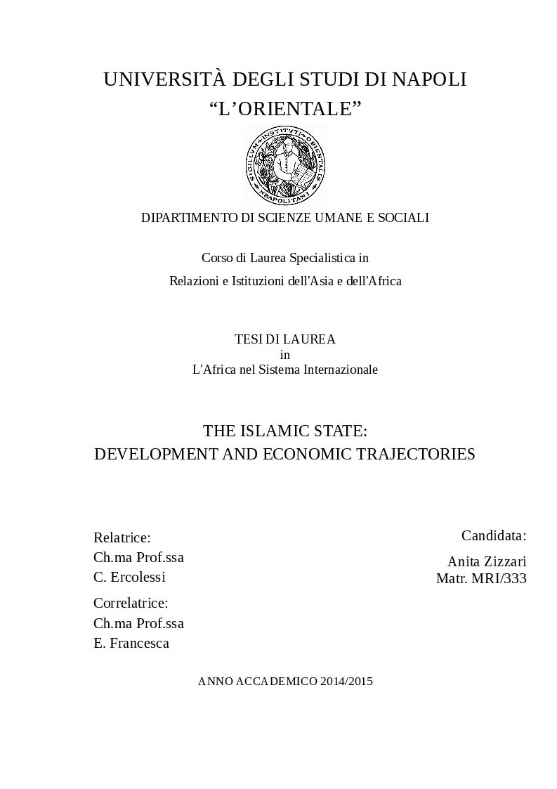 Anteprima della tesi: The Islamic State, development and economic trajectories, Pagina 1