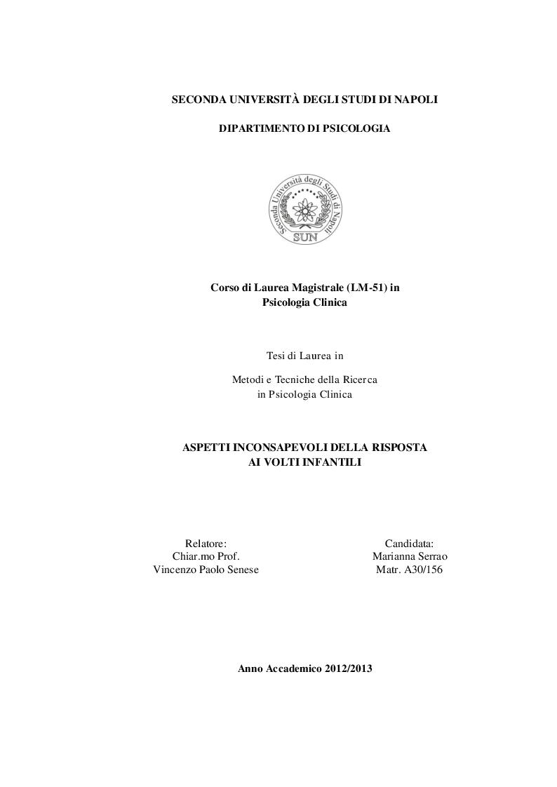 Anteprima della tesi: Aspetti inconsapevoli della risposta ai volti infantili, Pagina 1