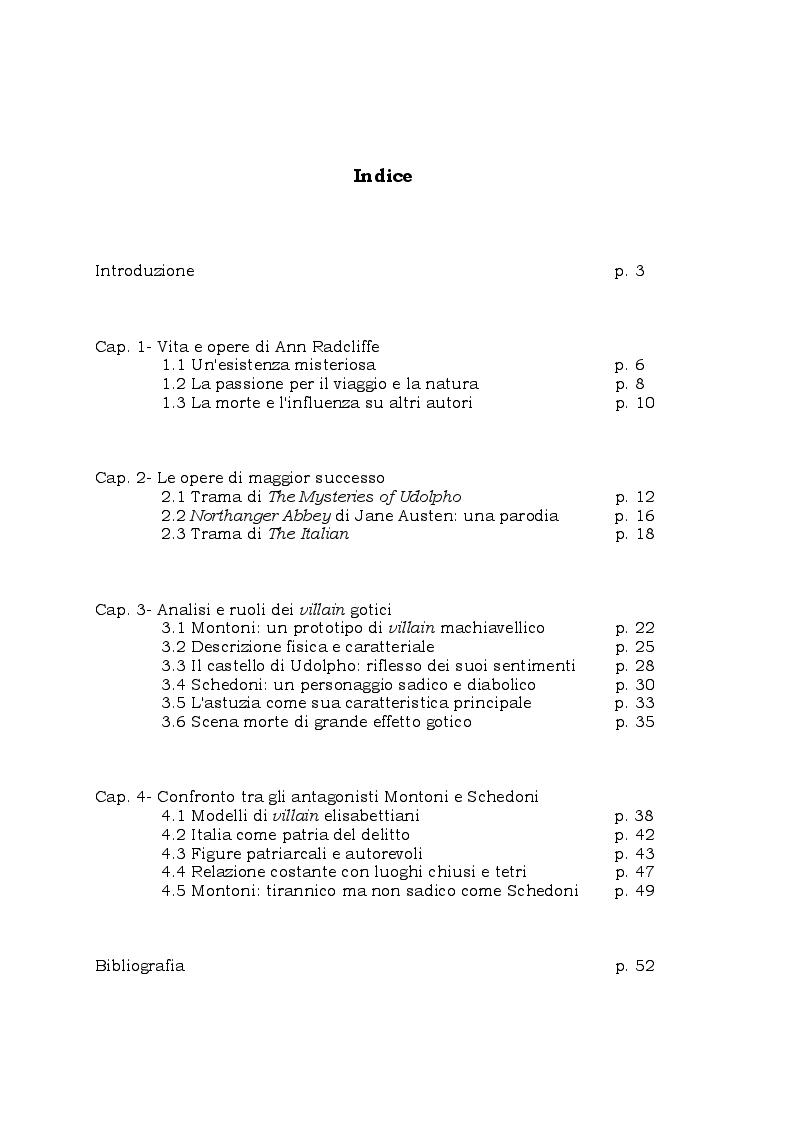 Indice della tesi: La figura del villain nei romanzi di Ann Radcliffe, Pagina 1